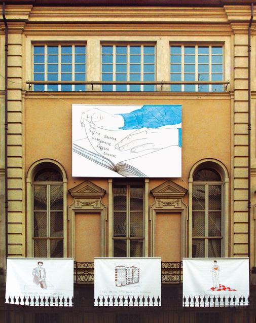 Cesare Viel, Tu che mi hai disegnato, 2004, particolare dell'installazione, facciata di Palazzo Bricherasio, Torino. Foto Alvin Crea. Courtesy Pinksummer, Genova