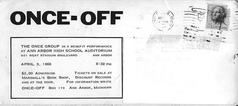 ONCE Group, biglietto d'invito per lo spettacolo Once-off presso l'Ann Arbor High School Auditorium, 9 aprile 1966