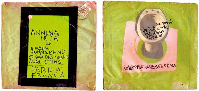 busta fatta a mano di una lettera che Claudio Cintoli ha inviato ad Annina Nosei mentre lavorava alla Ileana Sonnabend Gallery a Parigi