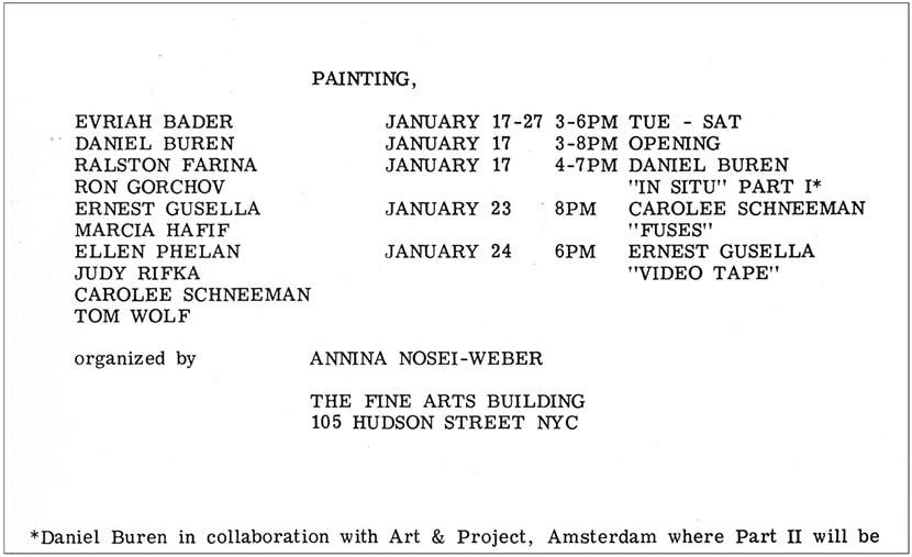 invito della mostra Painting al Fine Arts Building, New York