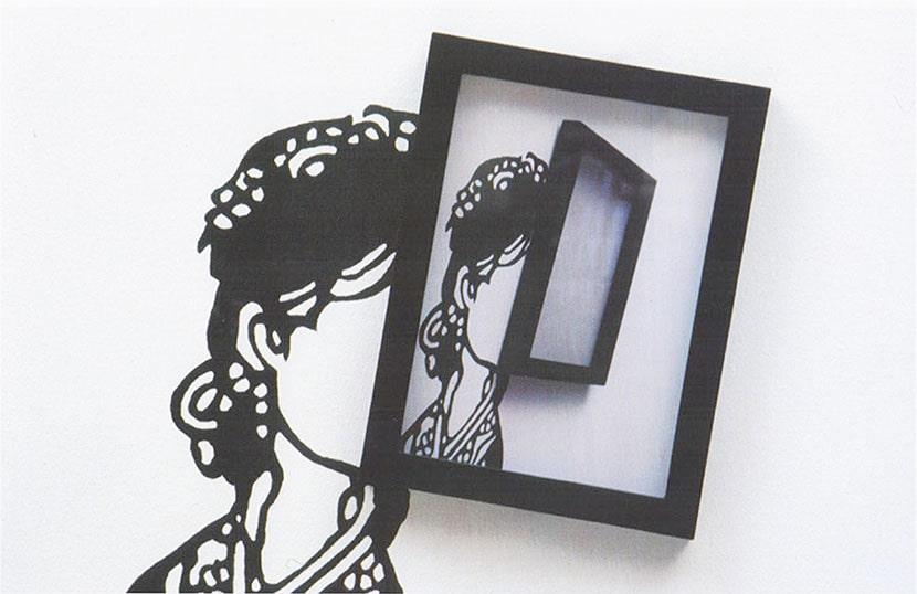 Liliana Porter, To be There, 2001, dettaglio, acrilico su tela e stampa digitale incorniciata (pubblicato nel catalogo della mostra 1998-2003, Annina Nosei Gallery, New York, 2003)