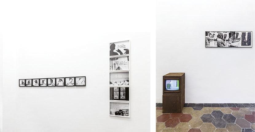 Maurizio Camerani, Make a Better World Now, 2020, due vedute della mostra. Foto Beppe Giardino. Courtesy l'artista e Quartz Studio, Torino