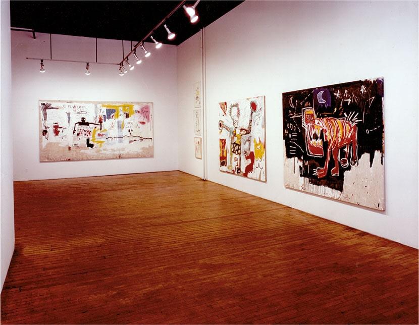 veduta della mostra personale di Jean-Michel Basquiat, Annina Nosei Gallery, New York, 1982