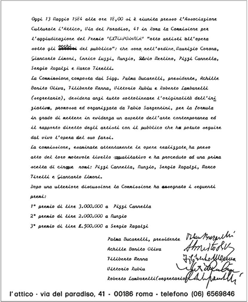 verbale stilato dalla Giuria per l'assegnazione del Premio Extemporanea, L'Attico, Roma, 13 maggio 1984
