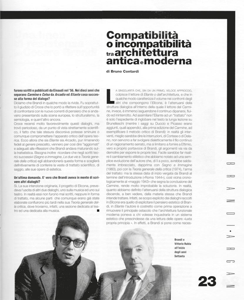 """Vittorio Brandi Rubiu e Cesare Brandi in una foto pubblicata sul numero zero di """"Arte e Critica"""" (1993) all'interno dello speciale dedicato a Brandi e Argan"""