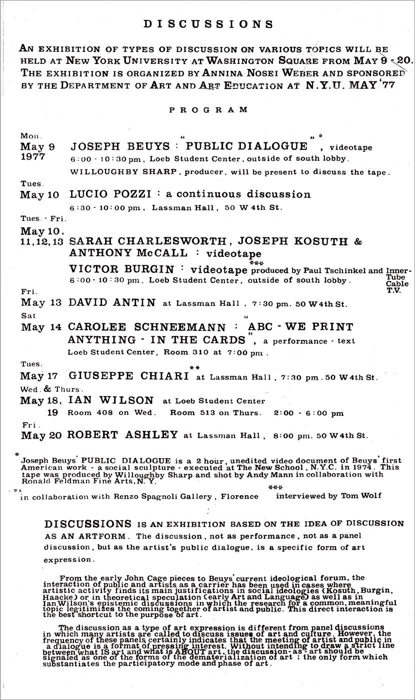 Discussions, volantino per il programma della mostra, 9-20 maggio 1977, New York University, New York